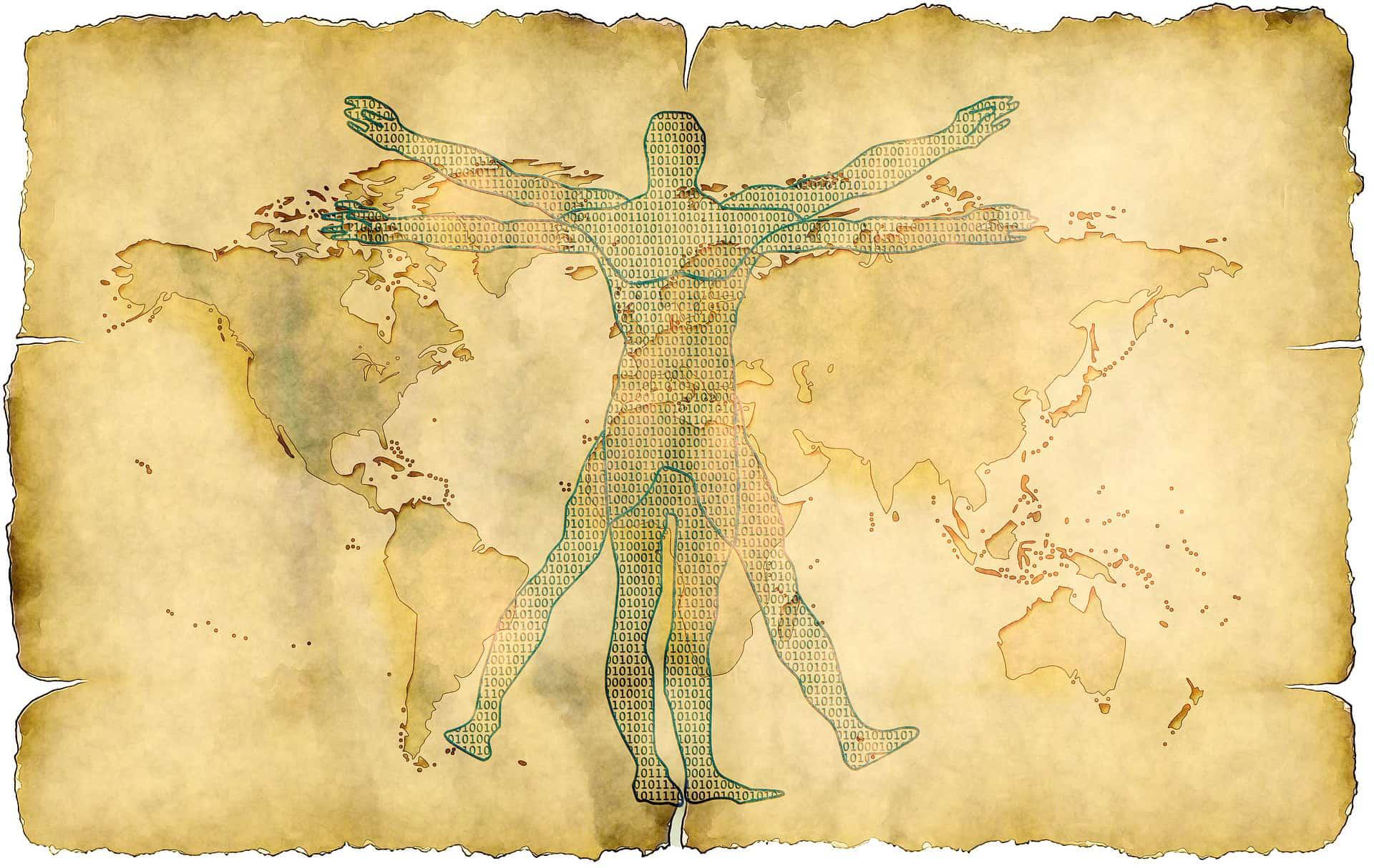 rysunek w stylu da Vinci na pergaminie