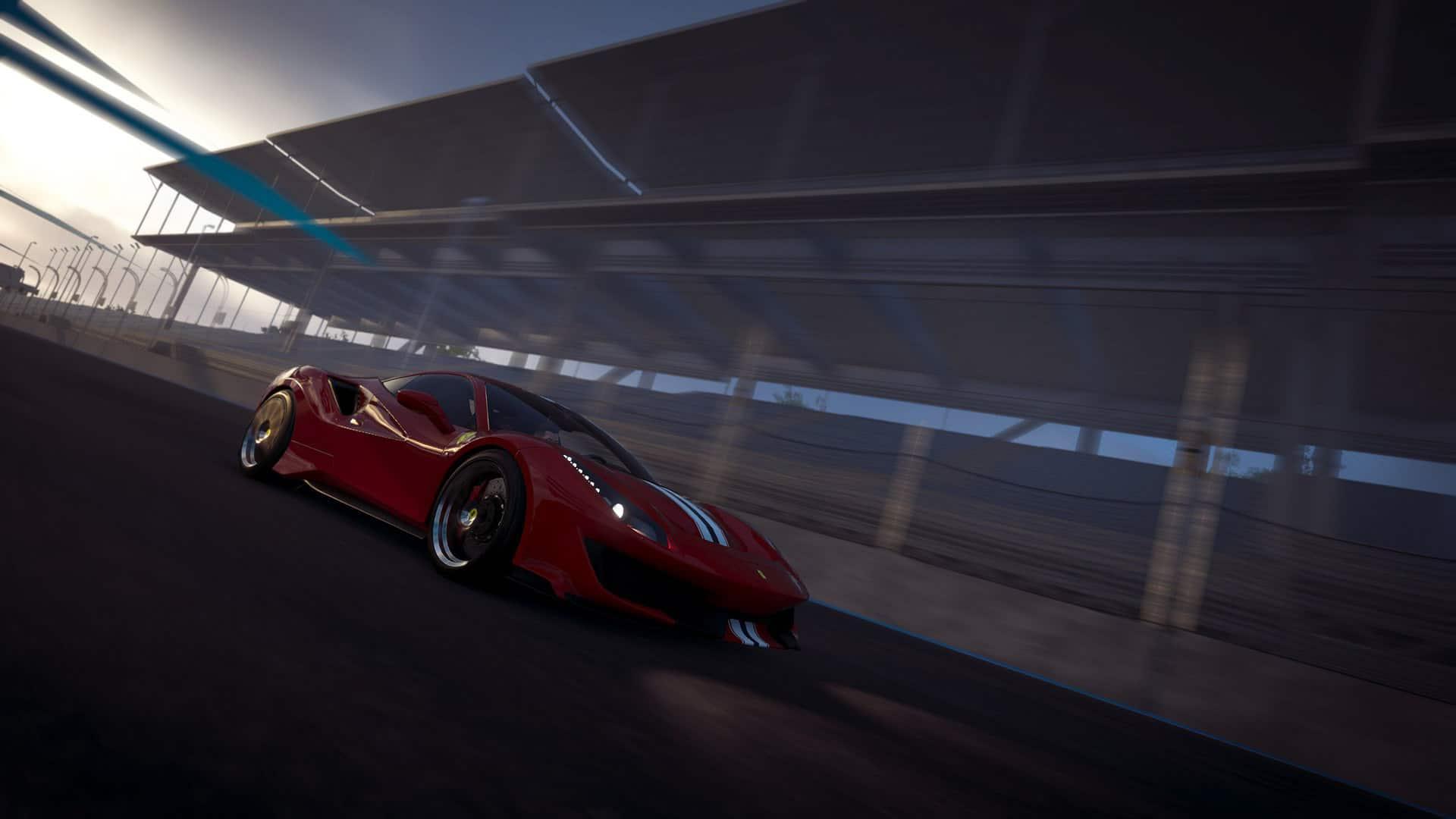 luksusowy samochód jadący po torze wyścigowym
